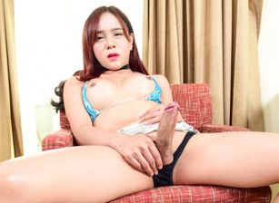 Thai Ladyboy Plam's She-Cock Erupts
